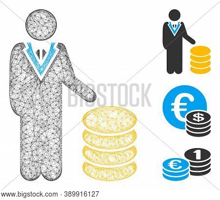 Mesh Coins Investor Polygonal Web 2d Vector Illustration. Carcass Model Is Based On Coins Investor F