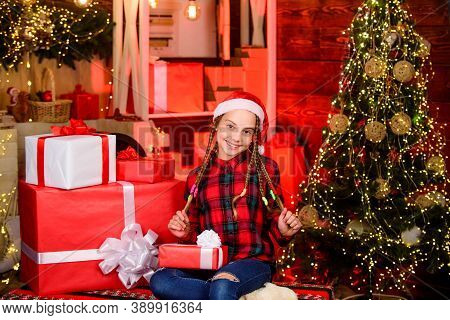Happy Kid With Gift Christmas Tree. Childhood Gift We Always Wanted. Childhood Memory Nicest Gift Pr