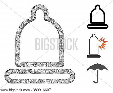 Mesh Condom Polygonal Web Icon Vector Illustration. Carcass Model Is Based On Condom Flat Icon. Tria