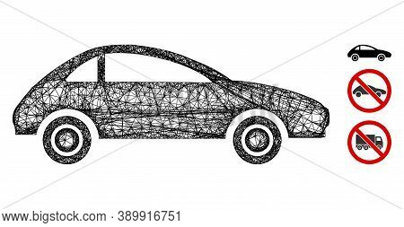 Mesh Coupe Car Polygonal Web Symbol Vector Illustration. Carcass Model Is Based On Coupe Car Flat Ic