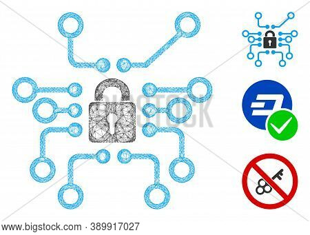 Mesh Cryptography Polygonal Web Icon Vector Illustration. Carcass Model Is Based On Cryptography Fla