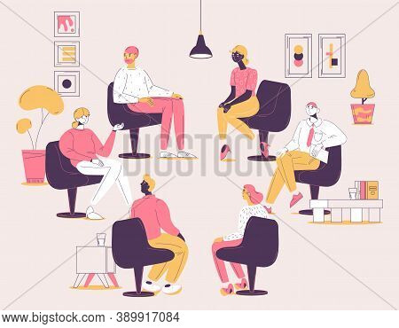 Group Therapy Session. Concept Illustration With Various People Sitting In Psychotherapy Circle And