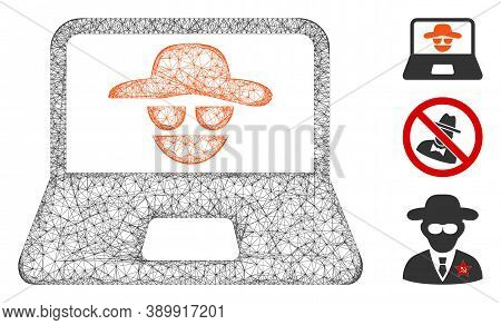 Mesh Cyber Crime Polygonal Web Icon Vector Illustration. Carcass Model Is Based On Cyber Crime Flat
