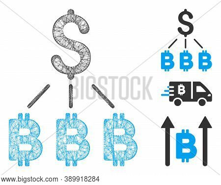 Mesh Dollar Bitcoin Links Polygonal Web 2d Vector Illustration. Abstraction Is Based On Dollar Bitco