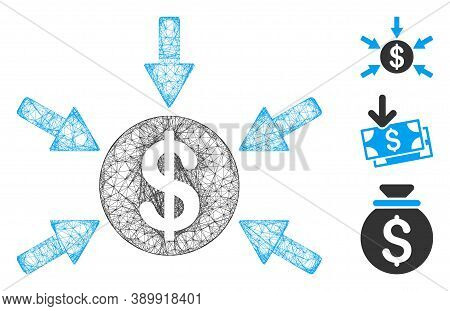Mesh Dollar Income Arrows Polygonal Web Symbol Vector Illustration. Model Is Based On Dollar Income