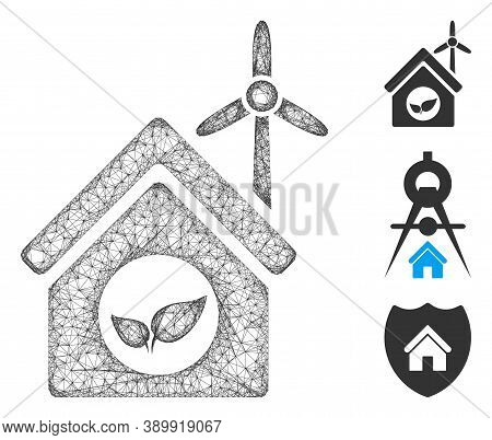 Mesh Eco House Building Polygonal Web 2d Vector Illustration. Model Is Based On Eco House Building F