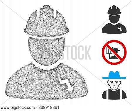 Mesh Electrician Polygonal Web Icon Vector Illustration. Carcass Model Is Based On Electrician Flat