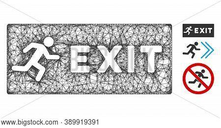 Mesh Emergency Exit Polygonal Web Icon Vector Illustration. Model Is Based On Emergency Exit Flat Ic