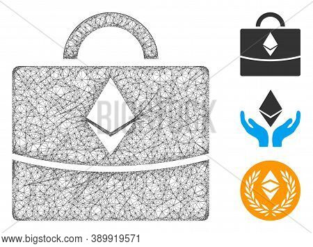 Mesh Ethereum Business Case Polygonal Web Icon Vector Illustration. Carcass Model Is Based On Ethere
