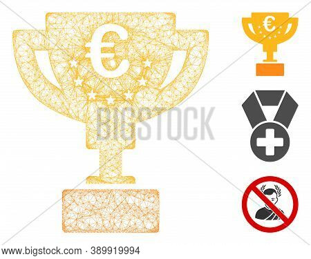 Mesh Euro Award Cup Polygonal Web Icon Vector Illustration. Model Is Created From Euro Award Cup Fla