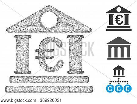 Mesh Euro Bank Building Polygonal Web 2d Vector Illustration. Carcass Model Is Based On Euro Bank Bu