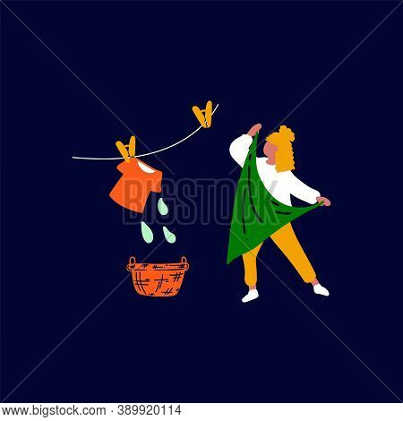 Illustration Of A Girl In A Laundry Service And Hanging Wet Clothes. Vector Image Of A Character Han