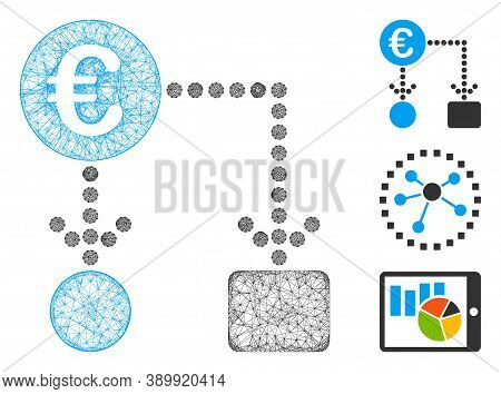 Mesh Euro Flow Chart Polygonal Web 2d Vector Illustration. Carcass Model Is Based On Euro Flow Chart