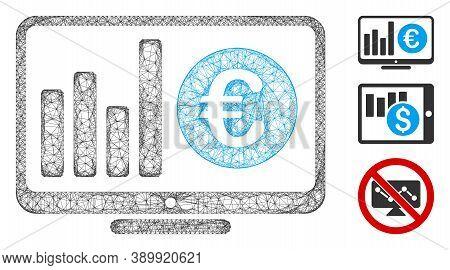 Mesh Euro Market Monitoring Polygonal Web 2d Vector Illustration. Model Is Based On Euro Market Moni