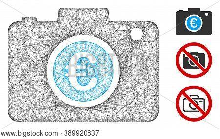 Mesh Euro Photo Polygonal Web Symbol Vector Illustration. Model Is Based On Euro Photo Flat Icon. Tr