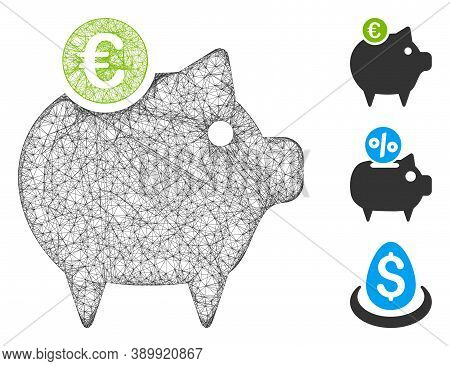 Mesh Euro Piggy Bank Polygonal Web Icon Vector Illustration. Carcass Model Is Based On Euro Piggy Ba
