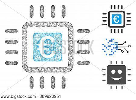 Mesh Euro Processor Polygonal Web Icon Vector Illustration. Carcass Model Is Based On Euro Processor