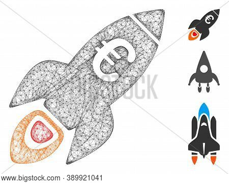 Mesh Euro Rocket Startup Polygonal Web Icon Vector Illustration. Abstraction Is Based On Euro Rocket