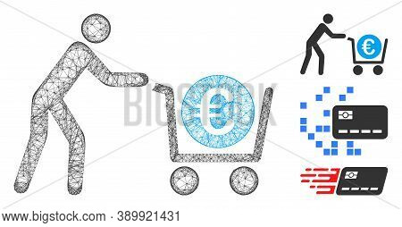 Mesh Euro Trolley Cashout Polygonal Web 2d Vector Illustration. Model Is Based On Euro Trolley Casho