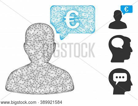 Mesh Euro User Opinion Polygonal Web Symbol Vector Illustration. Model Is Created From Euro User Opi