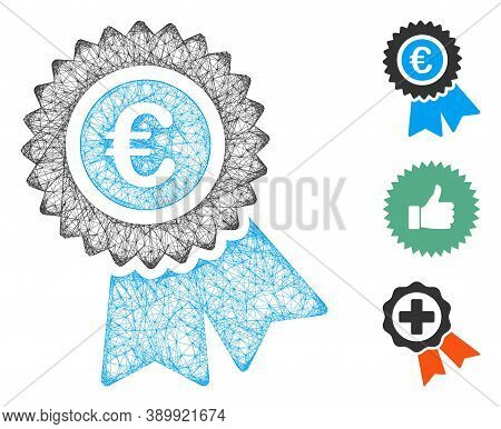 Mesh Euro Warranty Polygonal Web 2d Vector Illustration. Carcass Model Is Based On Euro Warranty Fla