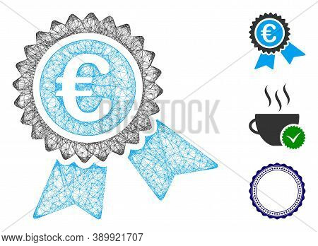 Mesh European Guarantee Seal Polygonal Web 2d Vector Illustration. Abstraction Is Based On European