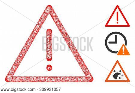 Mesh Exclamation Polygonal Web 2d Vector Illustration. Model Is Based On Exclamation Flat Icon. Tria