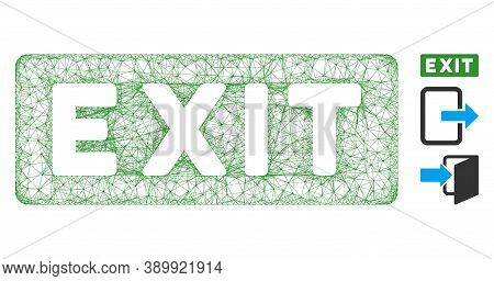 Mesh Exit Label Polygonal Web Symbol Vector Illustration. Model Is Based On Exit Label Flat Icon. Tr
