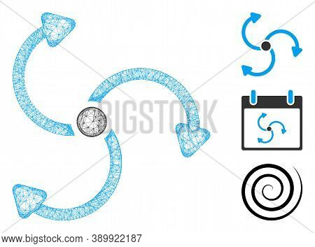 Mesh Fan Rotation Polygonal Web Icon Vector Illustration. Model Is Based On Fan Rotation Flat Icon.