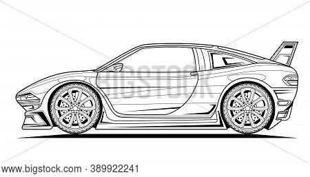 Vector Line Art Original Car Illustration. Black Contour Sketch Illustrate Adult Coloring Page For B