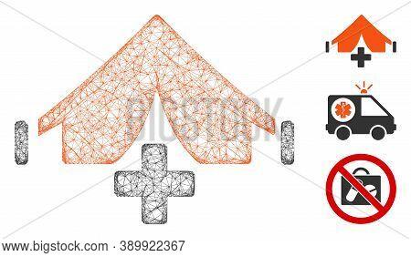 Mesh Field Hospital Polygonal Web Symbol Vector Illustration. Carcass Model Is Based On Field Hospit