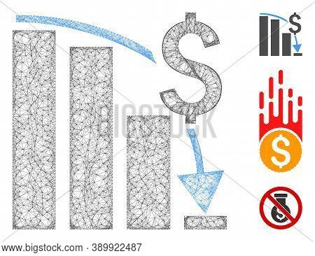 Mesh Financial Crisis Chart Polygonal Web Icon Vector Illustration. Carcass Model Is Based On Financ
