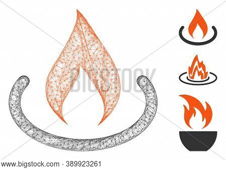 Mesh Fire Place Polygonal Web Symbol Vector Illustration. Abstraction Is Based On Fire Place Flat Ic