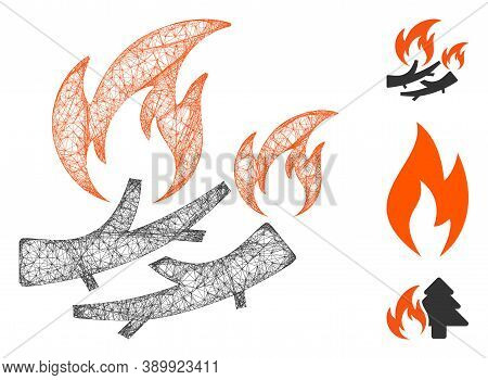 Mesh Firewood Fire Polygonal Web Icon Vector Illustration. Carcass Model Is Created From Firewood Fi