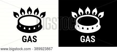 Gas Icon, Cooking Stove Hob Or Oven Cooker Vector Symbol. Gas Fire Flame Icon For Cookware Saucepan