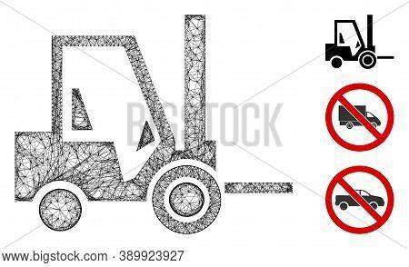 Mesh Fork Lift Truck Polygonal Web Icon Vector Illustration. Carcass Model Is Based On Fork Lift Tru