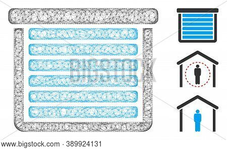 Mesh Garage Closed Polygonal Web Icon Vector Illustration. Abstraction Is Based On Garage Closed Fla