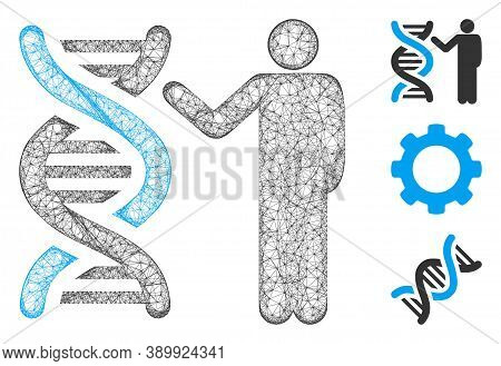Mesh Genetics Report Polygonal Web Icon Vector Illustration. Abstraction Is Based On Genetics Report