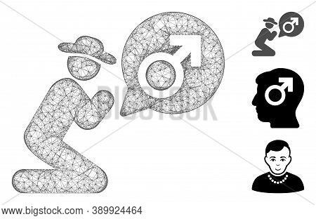 Mesh Gentleman Pray For Potence Polygonal Web 2d Vector Illustration. Carcass Model Is Based On Gent