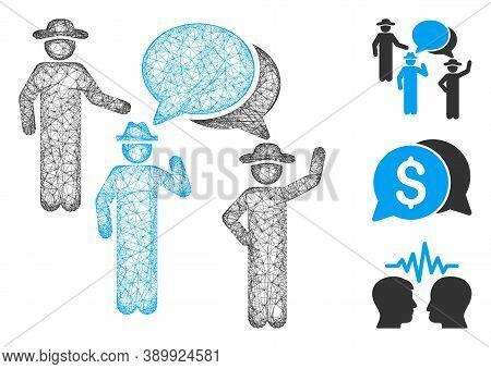 Mesh Gentlemen Discussion Polygonal Web Icon Vector Illustration. Carcass Model Is Created From Gent