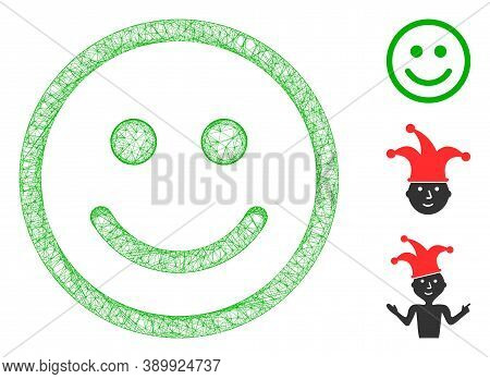 Mesh Glad Smiley Polygonal Web Icon Vector Illustration. Carcass Model Is Based On Glad Smiley Flat