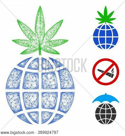 Mesh Global Cannabis Sprout Polygonal Web Icon Vector Illustration. Model Is Based On Global Cannabi