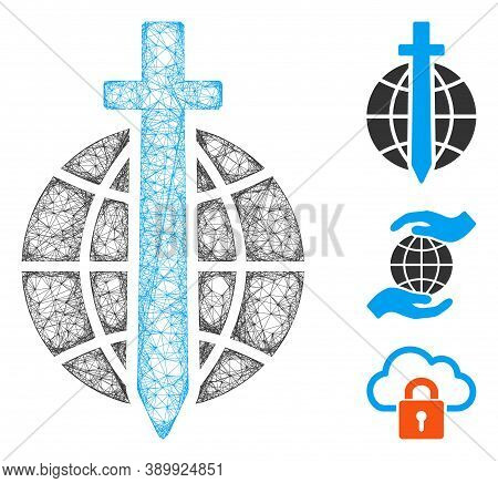 Mesh Global Guard Polygonal Web Icon Vector Illustration. Abstraction Is Based On Global Guard Flat