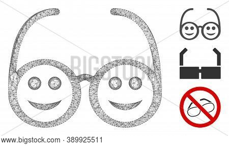 Mesh Happy Spectacles Polygonal Web Symbol Vector Illustration. Carcass Model Is Based On Happy Spec