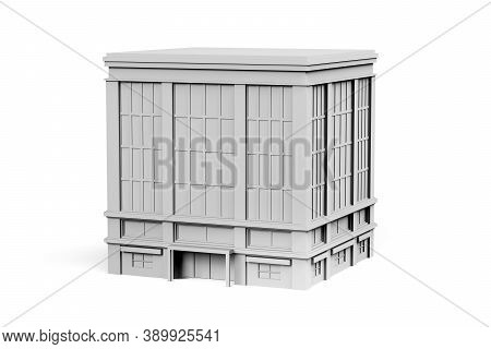 Building Mockup On White Background With Space For Text - 3d Render