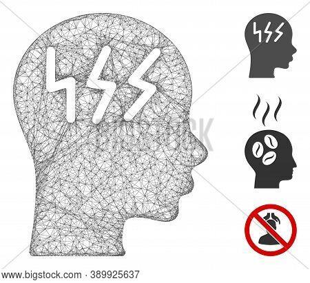 Mesh Headache Polygonal Web Icon Vector Illustration. Carcass Model Is Created From Headache Flat Ic