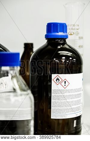 Development Vaccine And Antiviral Drugs For Against The Coronavirus, Showing The Biohazard Sign For