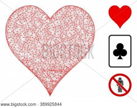 Mesh Hearts Suit Polygonal Web Icon Vector Illustration. Carcass Model Is Based On Hearts Suit Flat