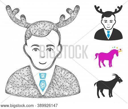 Mesh Horned Husband Polygonal Web Symbol Vector Illustration. Carcass Model Is Based On Horned Husba