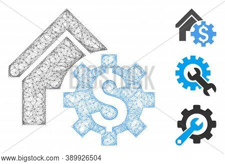 Mesh House Rent Options Polygonal Web Icon Vector Illustration. Carcass Model Is Created From House
